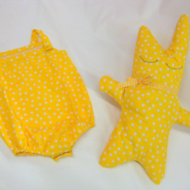 Studiofluido - Tutina body bebè gialla e pupazzo
